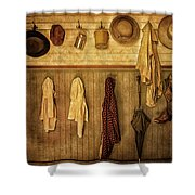 Coat Room At The Old Schoolhouse Shower Curtain