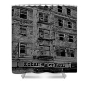 Cobalt Motor Hotel Shower Curtain