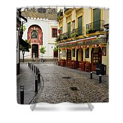 Cobblestone Argote De Molina Street With Cafe Ending At The Nort Shower Curtain