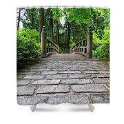Cobblestone Path To Wood Bridge Shower Curtain