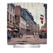 Cobblestone Streets In Old Montreal  Shower Curtain