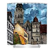 Coburg Germany Castle Painting Art Print Shower Curtain