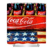 Coca Cola And Wooden American Flag Shower Curtain