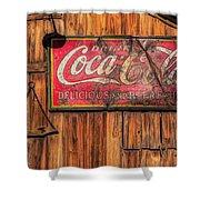Coca Cola Barn Shower Curtain