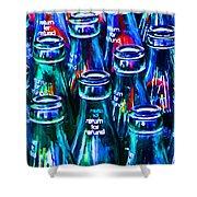 Coca-cola Coke Bottles - Return For Refund - Painterly - Blue Shower Curtain