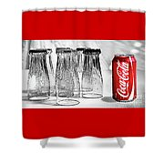 Coca-cola Glasses And Can - Selective Color By Kaye Menner Shower Curtain