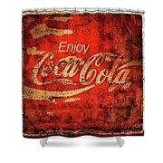 Coca Cola Square Aged Texture Black Border Shower Curtain