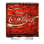 Coca Cola Square Soft Grunge Shower Curtain