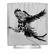 Cock Bw II Transparant Shower Curtain