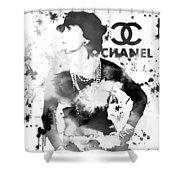 Coco Chanel Grunge Shower Curtain