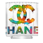 Coco Chanel Paint Splatter Color Shower Curtain