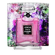 Coco Chanel Parfume Pink Shower Curtain