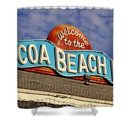 Cocoa Beach Pier Sign Shower Curtain