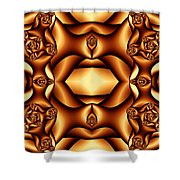 Cocoa Fractal Roses Shower Curtain