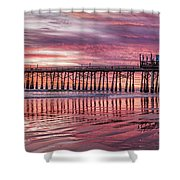 Cocoa Pier Sunrise Shower Curtain