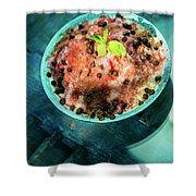 Coconut Milk Sorbet With Strawberry Sauce Vanilla Ice Cream Shower Curtain