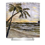 Coconut Palms On Cloudy Day Shower Curtain