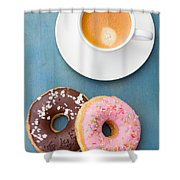 Coffee And Baked Donuts Shower Curtain