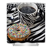 Coffee And Donut On Striped Plate Shower Curtain