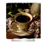 Coffee And Lilacs In The Morning Shower Curtain
