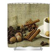 coffee beans Still Life Shower Curtain