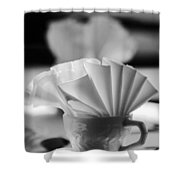 Coffee Cup Black And White Shower Curtain