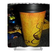 Coffee Cup Series. Yellow And Orange. Shower Curtain