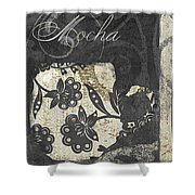 Coffee Flavors Gold And Black Shower Curtain