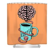 Coffee For The Brain Funny Illustration Shower Curtain