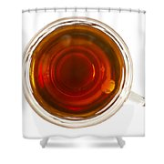 Coffee In Glass Cup From Directly Above Shower Curtain