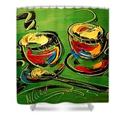 Coffee On Green Shower Curtain