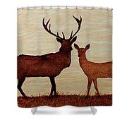 Coffee Painting Deer Love Shower Curtain