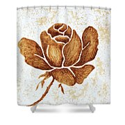 Coffee Painting Rose Blooming Shower Curtain