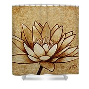 Coffee Painting Water Lilly Blooming Shower Curtain