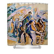 Coffee Papers. Sketch II . Present And Past Moments Shower Curtain
