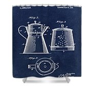 Coffee Pot Patent 1916 Blue Shower Curtain