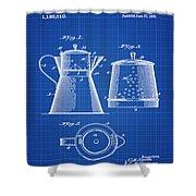Coffee Pot Patent 1916 Blue Print Shower Curtain