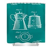Coffee Pot Patent 1916 Green Shower Curtain