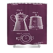 Coffee Pot Patent 1916 Red Shower Curtain