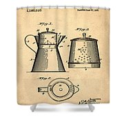 Coffee Pot Patent 1916 Sepia Shower Curtain