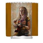 Coffee Shop Girl Shower Curtain
