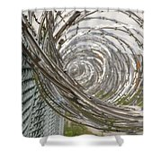 Coiled Razor Wire On Fence Shower Curtain