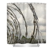 Coils Of Razor Wire On Fence Shower Curtain