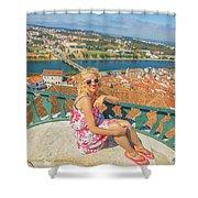 Coimbra Cityscape Woman Shower Curtain
