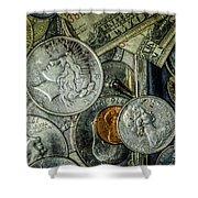 Coins And Bills Shower Curtain