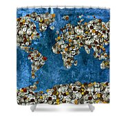 Coins World Map Shower Curtain