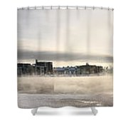 Cold Day Foggy River Panorama Oulu Shower Curtain