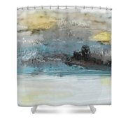 Cold Day Lakeside Abstract Landscape Shower Curtain