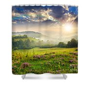 Cold Fog In Mountains On Forest At Sunset Shower Curtain