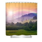 Cold Fog On Hot Sunrise In Mountains Shower Curtain